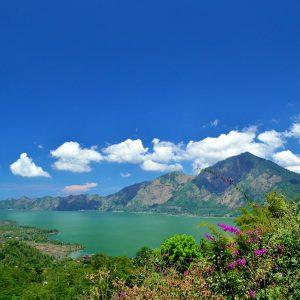 view lake batur and bali volcanoes